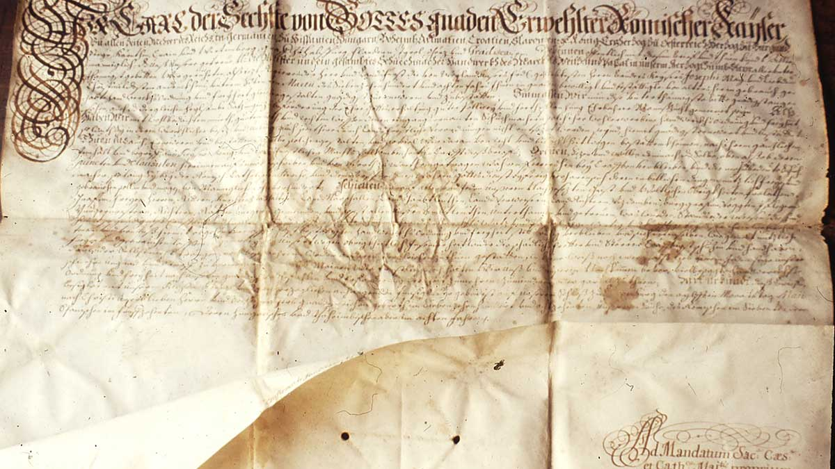Markturkunde aus 1507 von Kaiser Maximilian