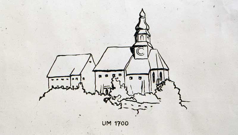 Zeichung der alten Kirche am Weizberg nach einem Steinrelief